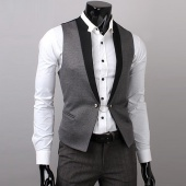Fashion Men Gray Splicing Black Vest Tops Simple V Collar 4 Size