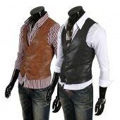 Korean Style Men Slim Fit Single-breasted Vest Waistcoat Jacket 2Colors