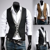 Men Fashion Plaid Faux Two Piece Male Slim Vest Tank Tops