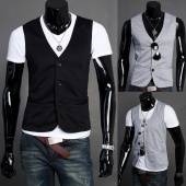 Korean Men's Clothing Waistcoat Vest Suit Jacket Blazer Tank Top Slim Fit 3 Buttons