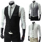 Men's Slim Fitted Leisure Waistcoat Vest Jacket Casual Business Tops Three Buttons 3color