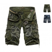 Summer Mens Casual Cargo Combat Camo Cotton Overall Shorts Pants