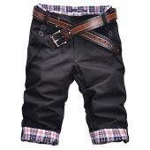 Men Leisure Summer Plaid Pleated Pockets Short Pants Casual Fashion 3Colors 4Size