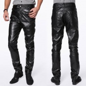 Men Fashion Faux Leather Slim Fit Trousers Pants Black M/L/XL/XXL