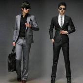 Mens Luxury Stylish Slim Fit Sexy Top 3 Parts Suits 2 Color M L XL XXL Size
