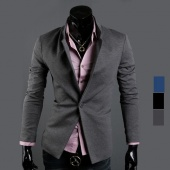 "Fashion Men""s Top Slim Fit Casual Long Sleeve Stand Collar One Button Suit Coat Jacket"