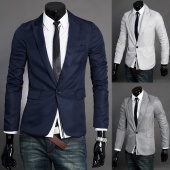Fashion Slim Fit Stylish Men's V Neck One Button Blazer Suit Coat Jacket