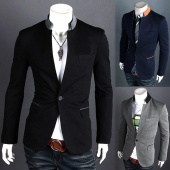 One Button Stand-up Collar Fashion Slim Fit Men's Suit Blazer Coats Jackets 3 Colors