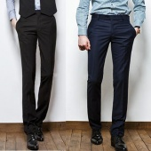 Men's Regular Fit Men's Slim Formal Straight Pants Smooth Trousers 2color