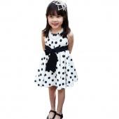 Baby Girl's Kids Dresses Polka Dot Bowknot Sleeveless Princess Dress