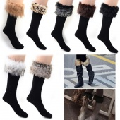 7 Dif. COLORS Japan Style Winter Snow Socks with Synthetic Fur Boot Socks