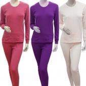 2Pc Women Thermal Underwear Gift Set Long Pajama Top&Bottom Long Sleeve M-XL