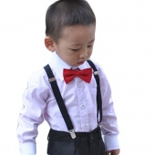 Children Kids Clip-on Adjustable Pants Black Y-back Suspender Braces Elastic
