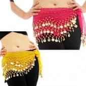 Pop 128 Coins 3 Rows Belly Dance Scarf Wrap Belt Hip Skirt Costume