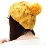 "Fashion Korean Women""s Winter Warm Knit Wool Hat Beanie Crochet Warm Pumpkin Ball Cap"