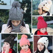 Solid Color Women's Winter Knitting Cap Beanie Hat Winter Slouch 3 Buttons 6 Colors One Size Elastic