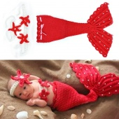 Born Infant Baby Crochet Wool Suit Clothes Photo Prop Outfits Animal Design Red