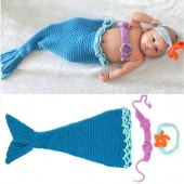 Born Infant Baby Crochet Wool Suit Clothes Photo Prop Outfits Animal Design Blue