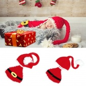 Born Infant Baby Santa Christmas Crochet Wool Hat Photo Prop Outfits