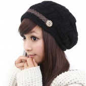 8 Colors Winter Plicate Baggy Beanie Women's Knitted Ski Hat Cap