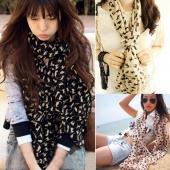 Chiffon Colorful Sweet Cat Pattern Women's Fashion Stylish Long Scarf Neck Wrap Scarf