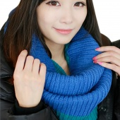 Winter Scarf Women Mixed Colors Pullover Knitted Scarf Winter Collars