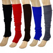 Womens Ladies Knit Stripe Leg Warmers Stocking Socks Legging Finger Gloves