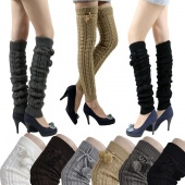 Women's Fashion Knit Crochet Winter Leg Warmer Leggings Socks Ball