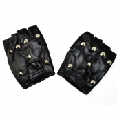 Fingerless Rivet Leather Vented Black Cowhide Glove with Motorcycle