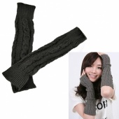 Women Fashion KnittedSoft Warm Winter Gloves Fingerless Long Gloves Leisure