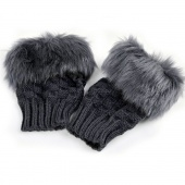 Gloves Arm Warmer Fingerless Gloves-Knitted Fur Trim Gloves Mittens