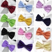 Men's Classic Bowtie Grid Polyester Neckwear Adjustable Wedding Bow Tie