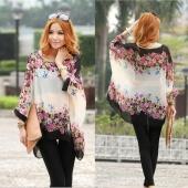Bohemian Style Women Oversized Dolman Sleeve Floral Chiffon Shirt Tops Blouse