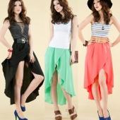 Fashion Women's Boho Bohemian Chiffon Summer Beach Long Irregular Maxi Dress Long Skirt