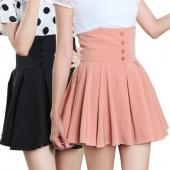 Women's Girls High Waist Pleated Button Mini Skirt Pink Black