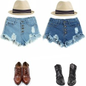 Women's Cool Denim Wash Distressed High Waist Short Pants Jeans Trousers Hot Pant 3 Size