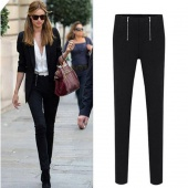Fashion Women Black Sexy Zippers Pencil Pants Slim Stretch Leggings Trousers Hot