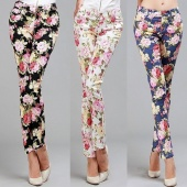 Women's Casual Fashion Printing Slim Stretch Pencil Feet Pants Trousers