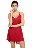 Fashion Sexy Women's Girl Wine Red Chiffon V-Collar Strap Short Hollow Back Pant Jumpsuits M L XL