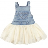 Fashion Girl's Jeans Tulle Dress Super Cute Party Dress Suspender Skirt Birthday Gift