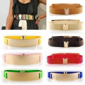 Runway Women Metal Elastic Mirror Face Waist Wide Belt Metallic