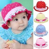 Cute Lovely Baby Girls Sun Flower Polka Dot Hearts Cotton Summer Hat Cap 3-24 Months Hot Sale