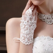 Ivory Fingerless Short Paragraph-Elegant Rhinestone Bridal Wedding Gloves
