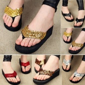 Women Ladies Sequins Sparkling Foam-soled Heavy Platform Flip Flops Shoes 5 Colors 38/40
