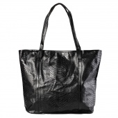 Women's Black Crocodile Pattern Leather Big One Shoulder Handbag Purse Tote Bag