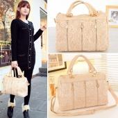 Fashion Korean Women PU Leather Messenger Bag Tote Shoulder Bag Lace Handbag