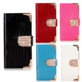 Luxury Bling Purse Diamond Leather Card Slot Wallet Flip Case Cover for IPhone5 5G 5S