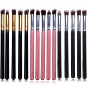 Pro MakeUp Cosmetic Set Eyeshadow Foundation Wood Brush Blusher Tools 5 PCs 5 Colors