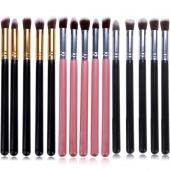 Pro MakeUp Cosmetic Set Eyeshadow Foundation Wood Brush Blusher Tools 5 PCs 5 Colors