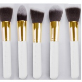 Pro MakeUp Cosmetic Set Eyeshadow Foundation Wood Brush Blusher Tools 5 PCs 3 Colors